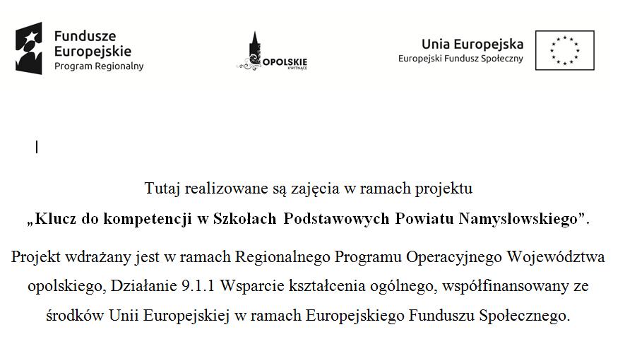 Klucz do kompetencji w Szkołach Podstawowych Powiatu Namysłowskiego