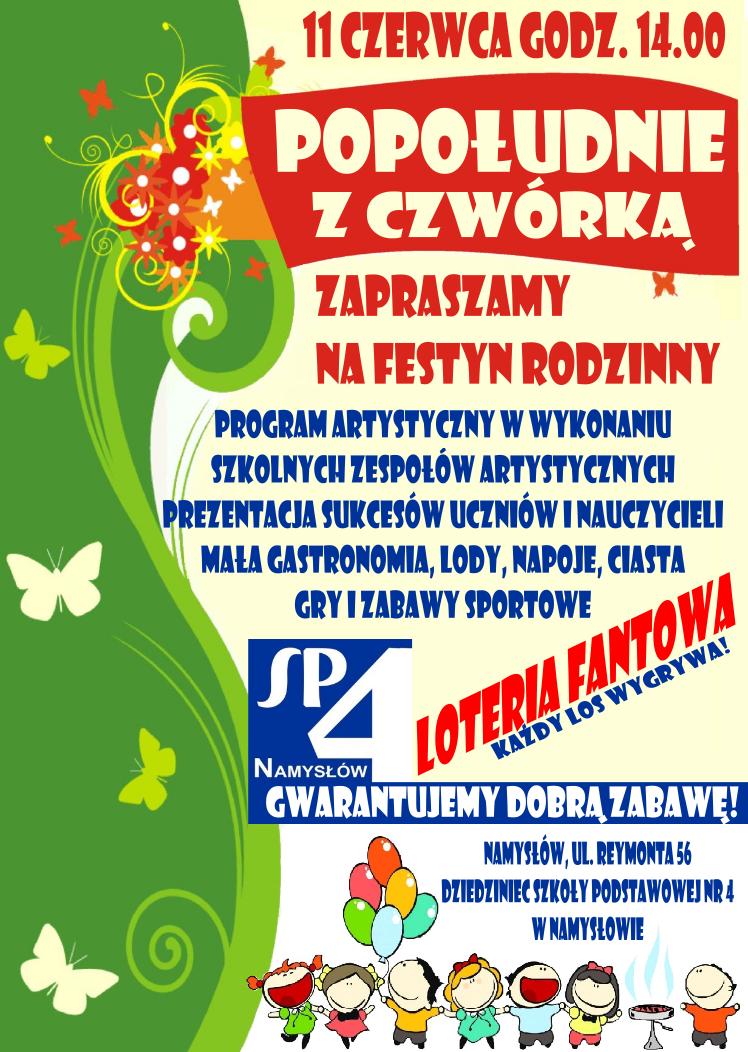 """ZAPROSZENIE NA FESTYN """"POPOŁUDNIE Z CZWÓRKĄ"""""""