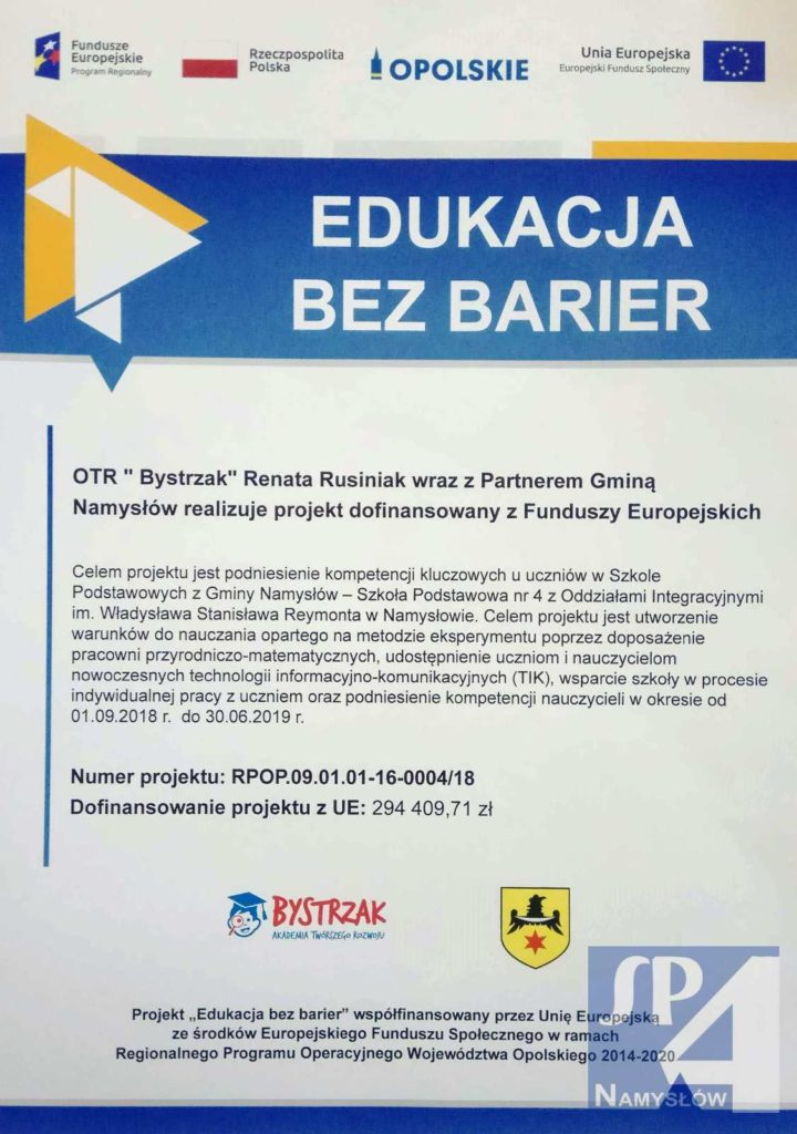 """""""Edukacja bez barier"""" – """"Moja szkoła, mój sukces"""" – Akademia Bystrzaka"""