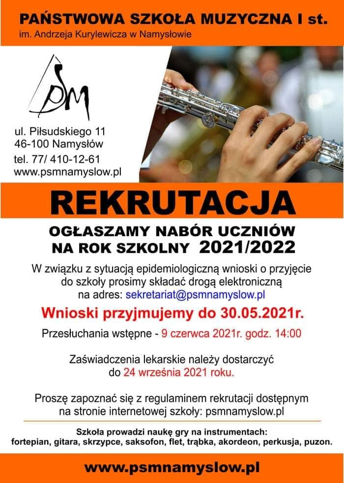 Szkoła Muzyczna w Namysłowie zaprasza