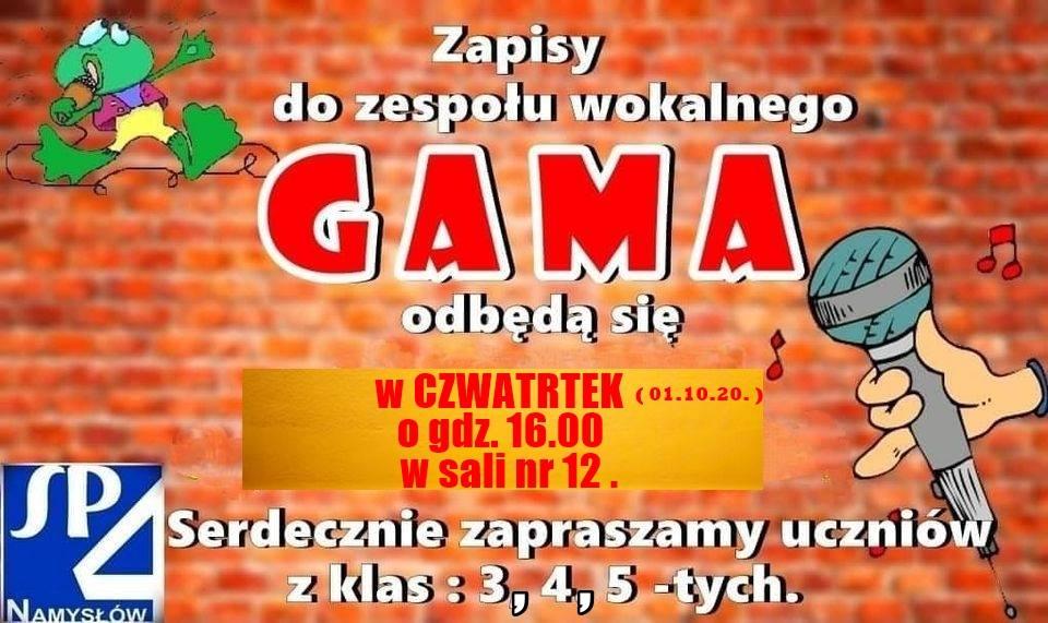 ZESPÓŁ WOKALNY GAMA I PAN KAZIMIERZ FIAŁA ZAPRASZAJĄ!